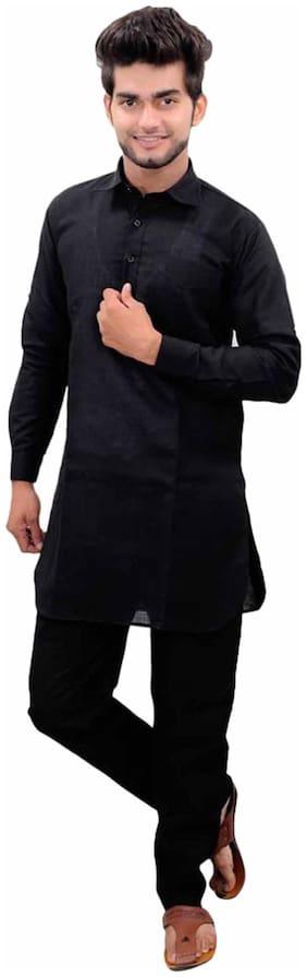 Royal Kurta Black Cotton Kurta Pyjama