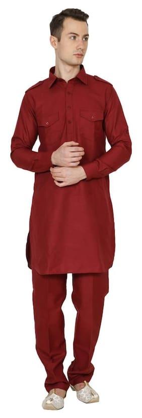 Royal Kurta Men Regular Fit Cotton Full Sleeves Solid Kurta Pyjama - Red