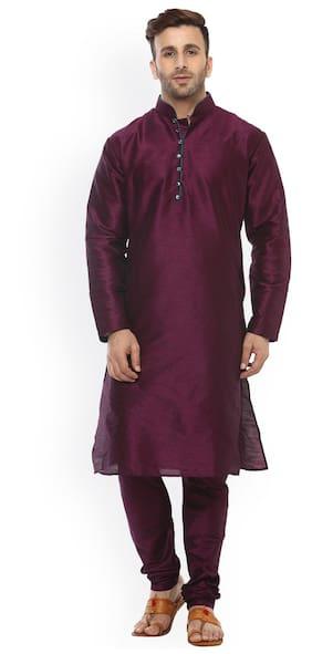 Royal Kurta Men Regular Fit Silk Full Sleeves Solid Kurta Pyjama - Maroon