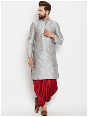 ROYAL KURTA MENS SILK BLEND KURTA DHOTI SET