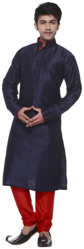 Royal Kurta  Blue Silk Blend Kurta Pyjamas