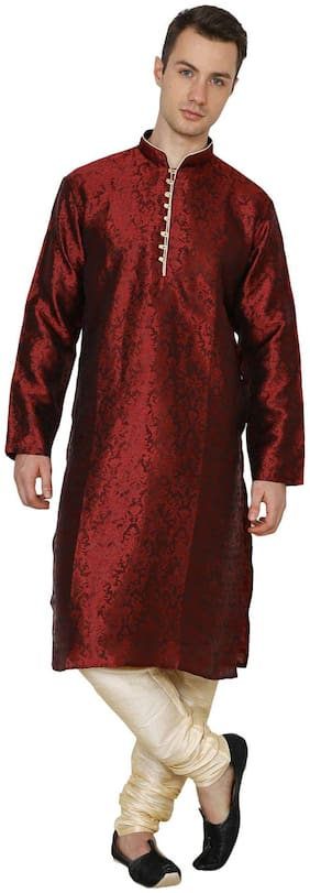 Royal Kurta Men's Jacquard Silk Printed Kurta Churidar