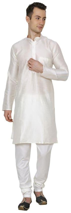 Royal Kurta Men Regular Fit Cotton Full Sleeves Solid Kurta Pyjama - Beige