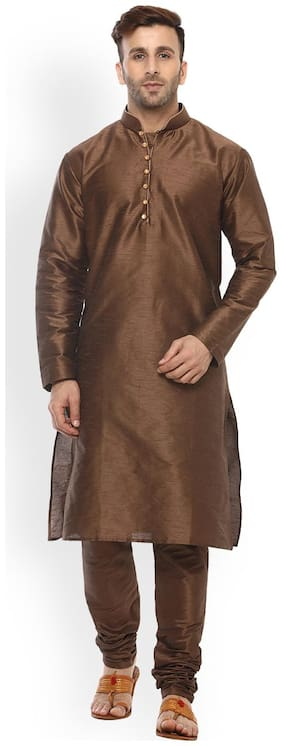 Royal Kurta Men Regular Fit Silk Full Sleeves Solid Kurta Pyjama - Brown
