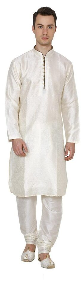 Royal Kurta Men Regular Fit Cotton Full Sleeves Solid Kurta Pyjama - White