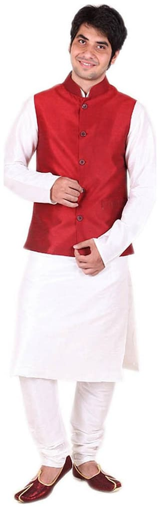 Royal Kurta Men Regular Fit Silk Full Sleeves Solid Ethnic Jackets - Red