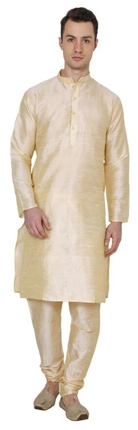 Royal Kurta Men Regular Fit Cotton Full Sleeves Solid Kurta Pyjama - Gold