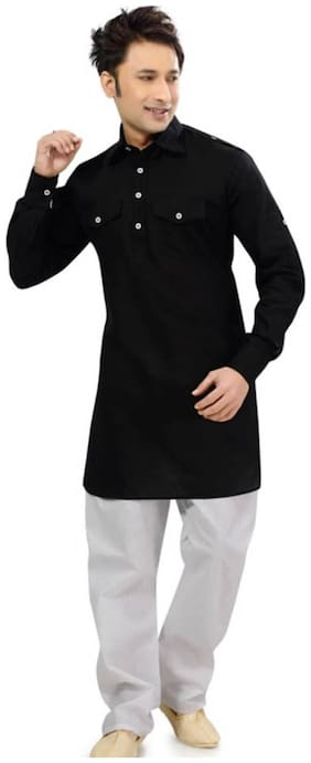 Royal Kurta  Black Cotton Blend Kurta Pyjamas