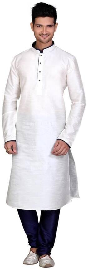 Royal Kurta Men Regular Fit Cotton Full Sleeves Solid Kurta Pyjama - White