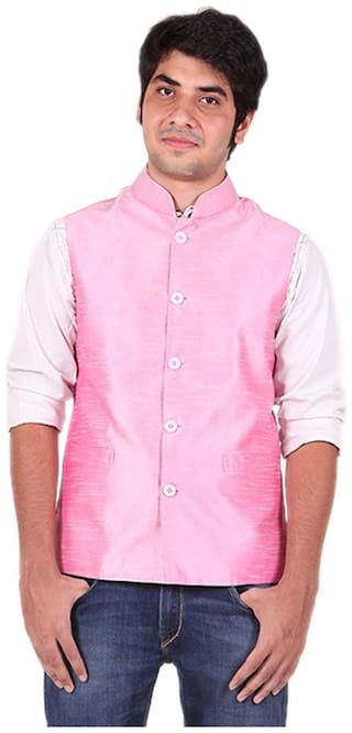 Royal Kurta Men Regular Fit Silk Sleeveless Solid Ethnic Jackets - Pink