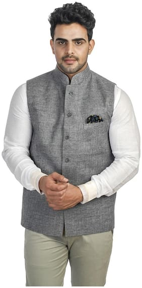Royal Kurta Grey Cotton Blend Nehru Jacket