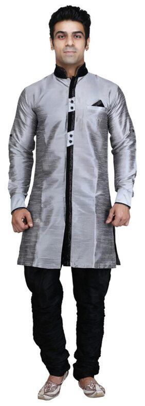 Royal Kurta Silk Short Sherwani - Grey