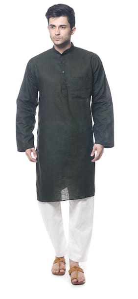 Royal Kurta Black Cotton Blend Kurta Pyjama Set