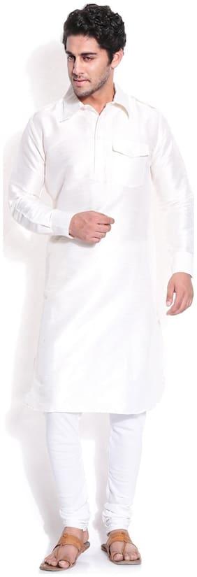 Royal Kurta Men Regular Fit Silk Full Sleeves Solid Kurta Pyjama - White