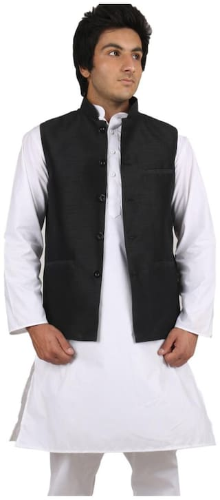 Royal Kurta Men Regular Fit Silk Sleeveless Solid Ethnic Jackets - Black
