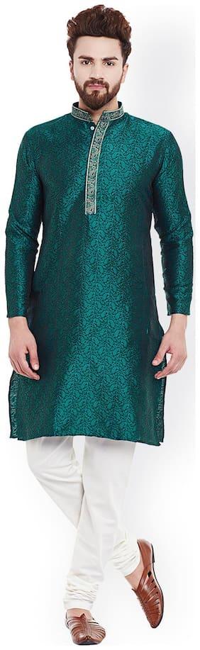 Royal Kurta Men Regular fit Silk & Blended Full sleeves Striped Kurta Pyjama - Green