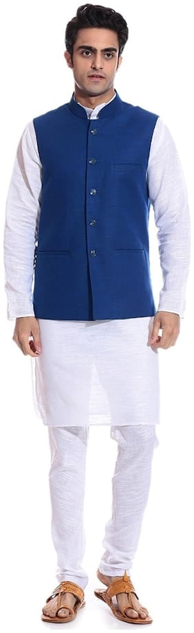 Royal Kurta Men Regular Fit Linen Full Sleeves Solid Ethnic Jackets - Blue