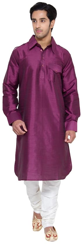 Royal Kurta Purple Silk Kurta Pyjamas Set