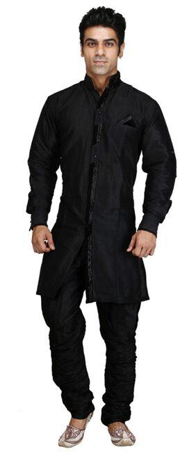 Royal Kurta Black Silk Blend Sherwani