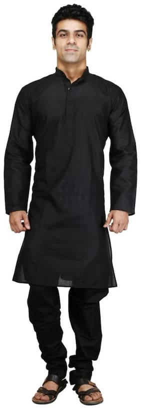 Royal Kurta Black Cotton Blend Kurta Pyjama