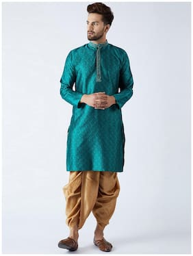 Royal Kurta Men Regular fit Cotton Full sleeves Printed Kurta Pyjama - Green