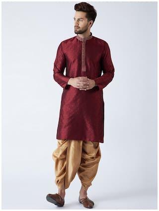 Royal Kurta Men Regular fit Cotton Full sleeves Printed Kurta Pyjama - Maroon
