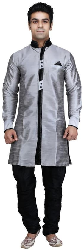 Royal Kurta Silk Short Sherwani - Grey
