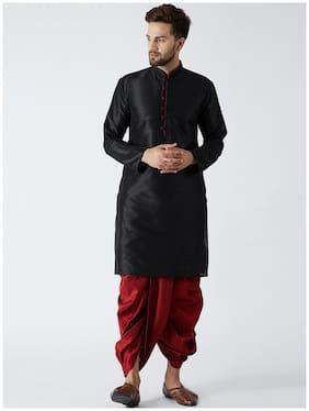 Royal Kurta Men Regular Fit Cotton Full Sleeves Solid Kurta Pyjama - Black