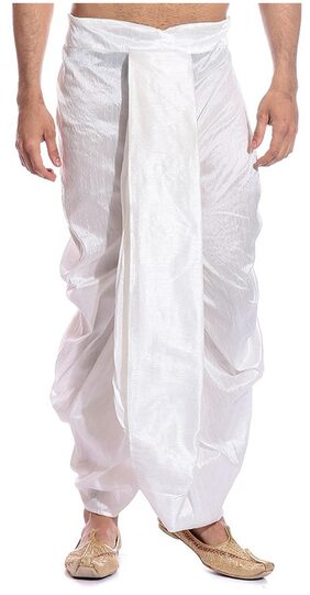 Royal Kurta Blended Solid Regular Dhoti Dhoti - White