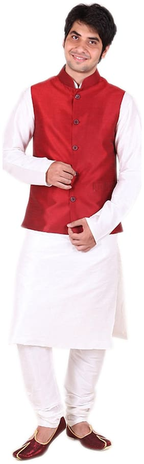 Royal Kurta Red Silk Blend Jacket