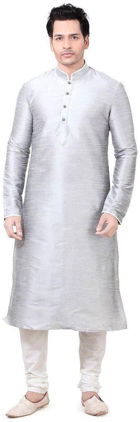 Royal Kurta Grey and White Polyester Blended Kurta Pyjama Set