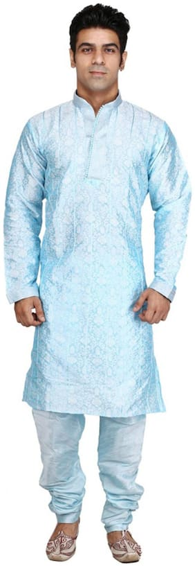 Royal Kurta Silk Long Sherwani - Blue