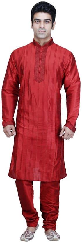 Royal Kurta Maroon Silk Blend Kurta Pyjama Set