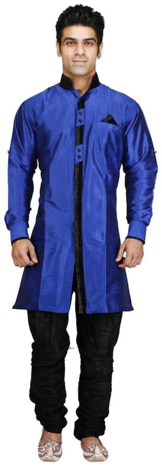 Royal Kurta Silk Short Sherwani - Blue