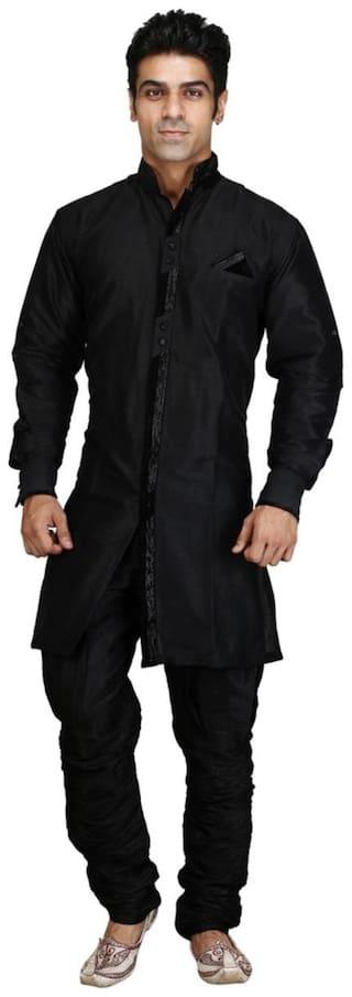 Royal Kurta Black Raw Silk Sherwani