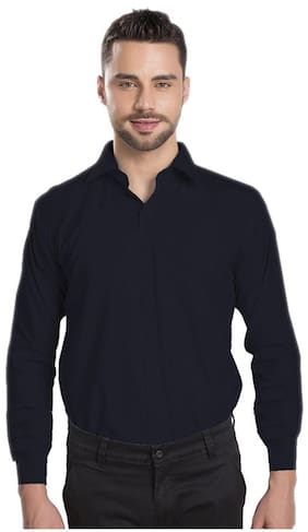 Royal Kurta Black Cotton Blend Formal Shirt