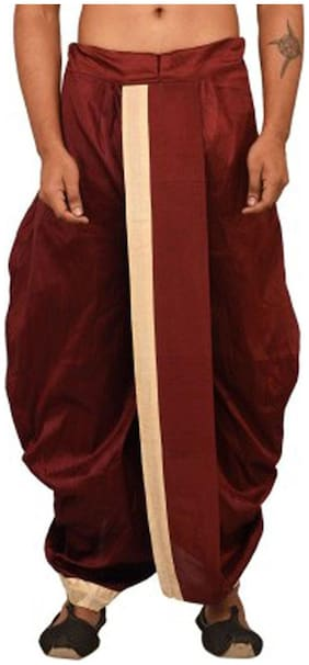 Royal Kurta Blended Solid Regular dhoti Dhoti - Maroon