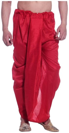 Royal Kurta Blended Solid Regular dhoti Dhoti - Red