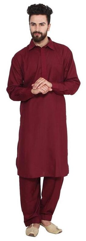 Royal Men's Traditional Neck Thread Embroidered Blended Pathani Suit With Classic Collar