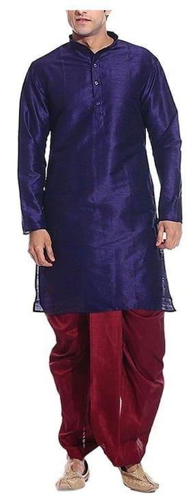 Royal Men's Blue Silk Blend Festive Dhoti Kurta Set