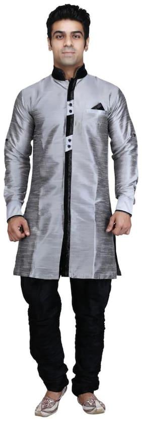 Royal Men's Designer Indo Western Sherwani_silver