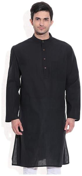 Royal Men's Black Linen Long Kurta