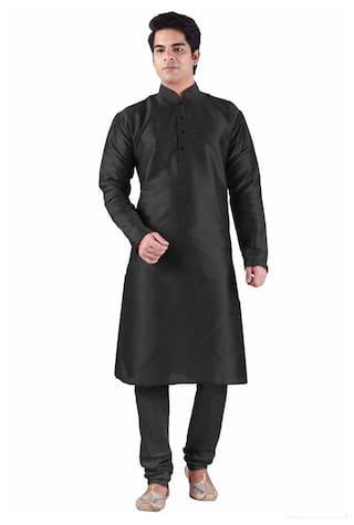 Royal Men's black silk kurta churidhar
