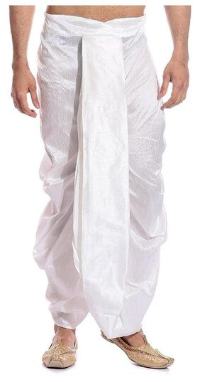 Royal Kurta Dupion Solid Regular Dhoti Dhoti - White