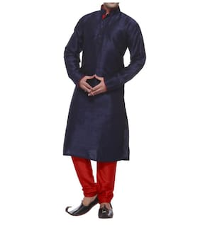 Royal Men's Designer Silk blend Kurta &Churidhar _Navy