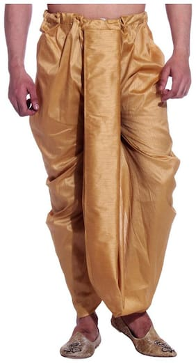 Royal Kurta Blended Solid Regular dhoti Dhoti - Gold