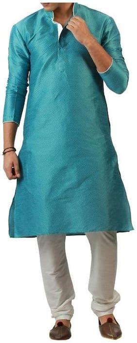 Royal Kurta Men Regular Fit Cotton 3/4th Sleeves Printed Kurta Pyjama - Blue