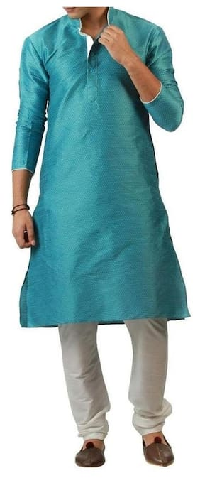 Royal Kurta Men Regular Fit Cotton 3/4th Sleeves Printed Kurta Pyjama - Blue