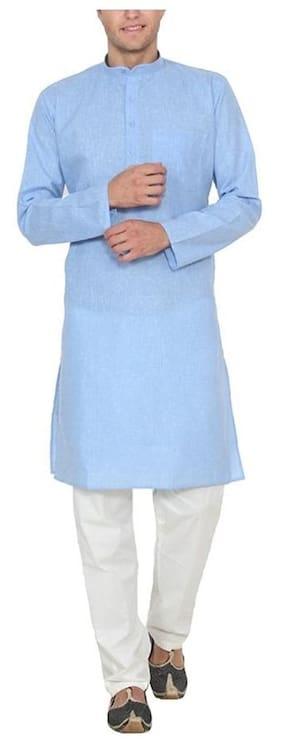 Royal Kurta Men Regular Fit Cotton Full Sleeves Solid Kurta Pyjama - Blue
