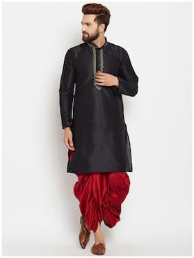 Royal Kurta Men Regular Fit Silk Full Sleeves Solid Kurta Pyjama - Black